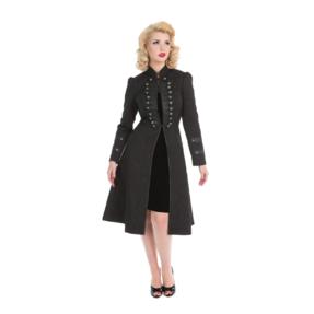 Čierny dámsky asymetrický kabát s gombíkmi