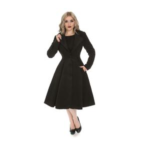 Černý dámský retro kabát s knoflíky