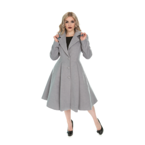 Šedý dámský retro kabát s knoflíky
