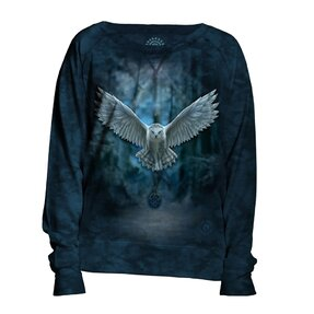 Damen Sweatshirt Blau Magische Eule