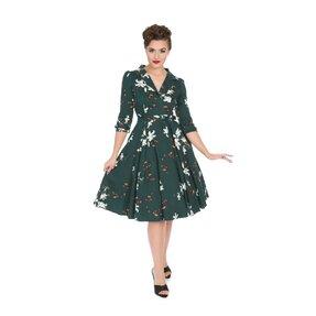 Zelené retro pin up šaty s rukávom Ľalila