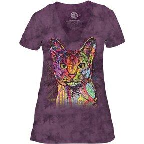 Dámské tri-blend tričko s véčkovým výstříhem Abesinská kočka