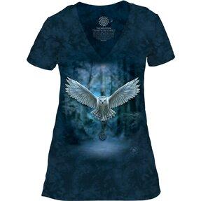 Dámské tri-blend tričko s véčkovým výstříhem Magická sova