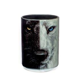 Originelle Tasse mit dem Motiv Schwarz-Weißer Wolf