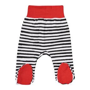 Červené pruhované dupačkové nohavice pre deti