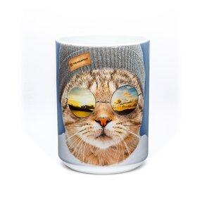 Cană originală cu motivul Pisica cool hipster