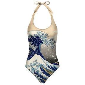 Dámske plavky s otovreným chrbtom Kanagawa wave