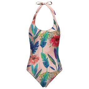Nyitott hátú fürdőruha Gepard a virágokban
