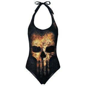 Nyitott hátú fürdőruha Punisher koponya