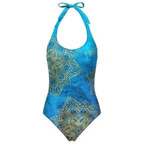 Dámske plavky s otvoreným chrbtom Zlatý boho štýl