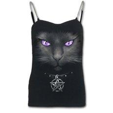 Dámske tielko s retiazkovými ramienkami s motívom Magická mačka