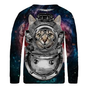 Kinder Sweatshirt ohne Kapuze Astronaut Cat