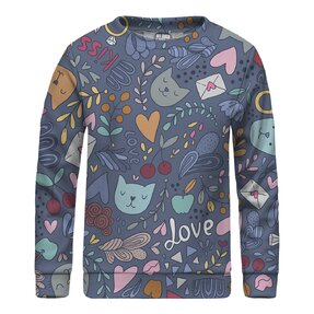 Kinder Sweatshirt ohne Kapuze Romantic Cats