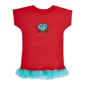 Dětské červené tričko s tylovou sukní Diamant