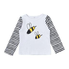 Detské pruhované tričko s dlhým rukávom Včielky
