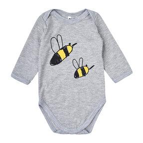 Dětské šedé body s dlouhým rukávem Včelky
