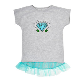 Kinder T-Shirt Grau mit Gaze Rock Diamant