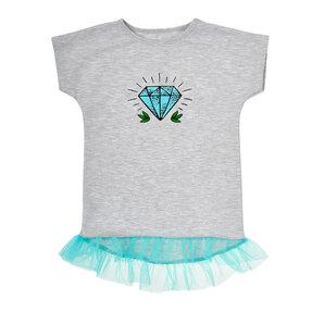 Dětské šedé tričko s tylovou sukní Diamant