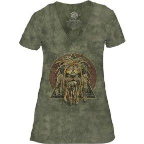 Damen Tri-Blend T-Shirt mit V-Ausschnitt Rasta Jahman