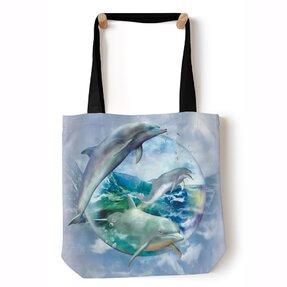 Tote taška na rameno Delfíny v bubline