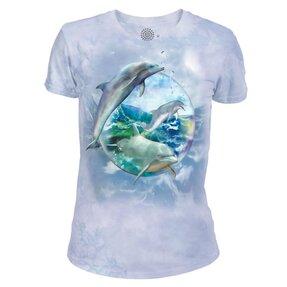 Dámske tri-blend tričko Delfíny v bubline