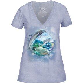 Dámske tri-blend tričko s véčkovým výstrihom Delfíny v bubline