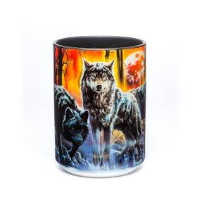 Originelle Tasse mit dem Motiv Wölfe mit Feuer und Eis