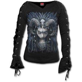 Tricou damă cu mânecă cu șiret Regina corbilor
