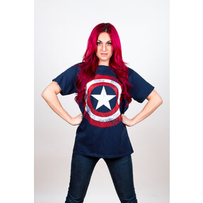 T-Shirt Marvel Comics Captain America Distressed Shield