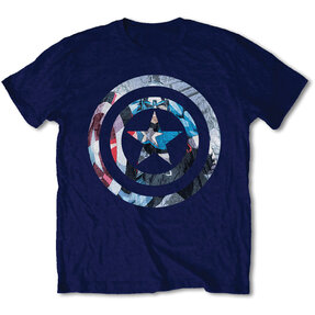 Dunkelblaues T-Shirt Marvel Comics Captain America Knock-out