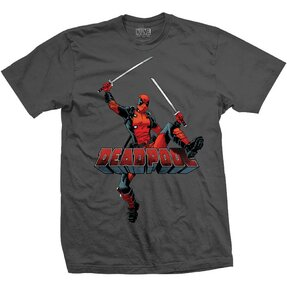 Dunkelgraues T-Shirt Marvel Comics Deadpool Logo Jump