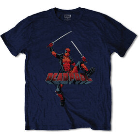 Dunkelblaues T-Shirt Marvel Comics Deadpool Logo Jump