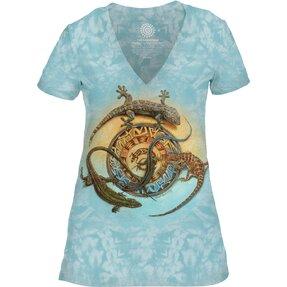 Dámské tri-blend tričko s véčkovým výstříhem Kruh plazů