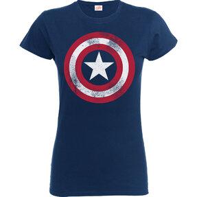 Kinder T-Shirt Blau Captain America Distressed Shield