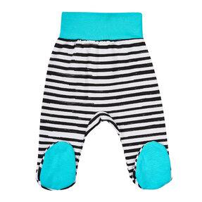 Modré pruhované dupačkové nohavice pre deti