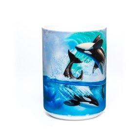 Cană originală cu motivul Orcinus orca pe val