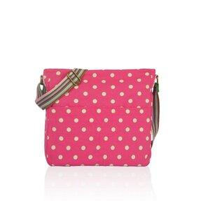 Růžová crossbody taška s puntíky