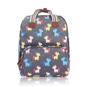 Šedý batoh na notebook Pohádkoví jednorožci 841591df18