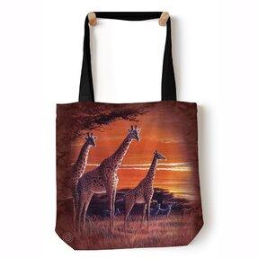 Tote taška na rameno Žirafy v savane
