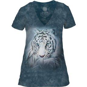 Dámské tri-blend tričko s véčkovým výstříhem Pohled bílého tygra