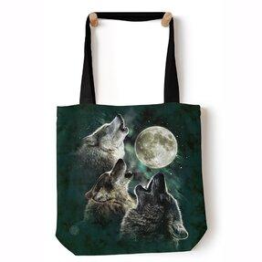 Tote taška na rameno Tri vlky vyjúce na mesiac