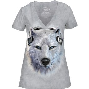 Női tri-blend póló Farkas fejhallgatóval