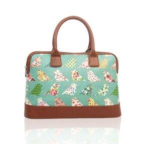 Zelená kabelka do ruky Retro vtáky