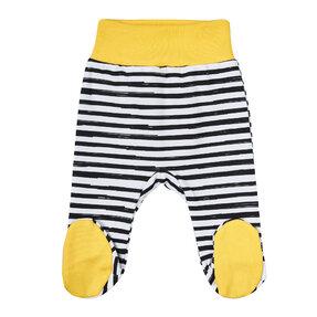 Žlté pruhované dupačkové nohavice pre deti