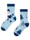 Vesele tople dječje čarape Plavi Djed Božićnjak