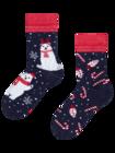 Veselé dětské teplé ponožky Vánoční lední medvěd