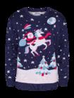 Živahni božični pulover Božiček in samorog