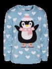 Wesoły sweter świąteczny Pingwin na łyżwach