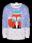 Živahni božični pulover Zimska lisica