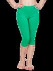 Green Cotton 3/4 Leggings